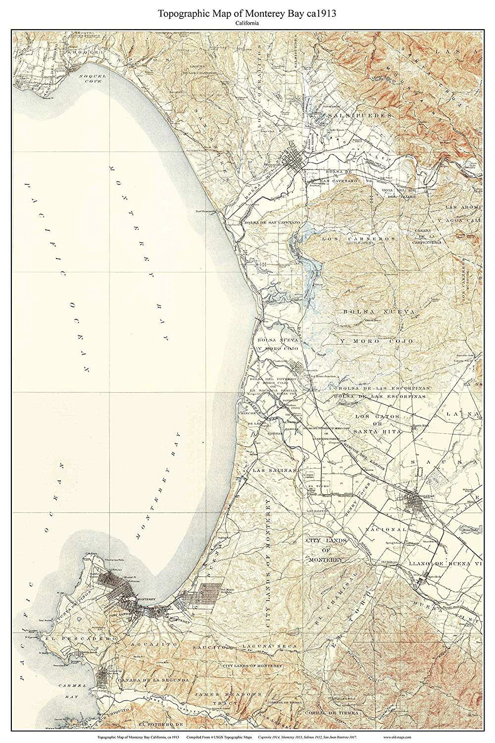 Amazon.com: Monterey Bay ca1913 Custom USGS Old Topo Map ... on