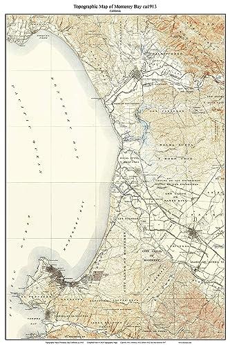 Amazon.com: Monterey Bay ca1913 Custom USGS Old Topo Map - Monterey ...