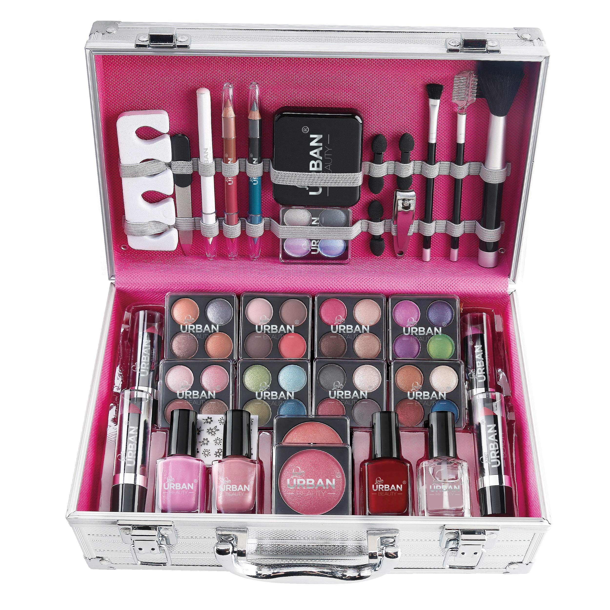 Love Urban Beauty 64 Piece complete Beauty Makeup Vanity Cosmetic Storage Set