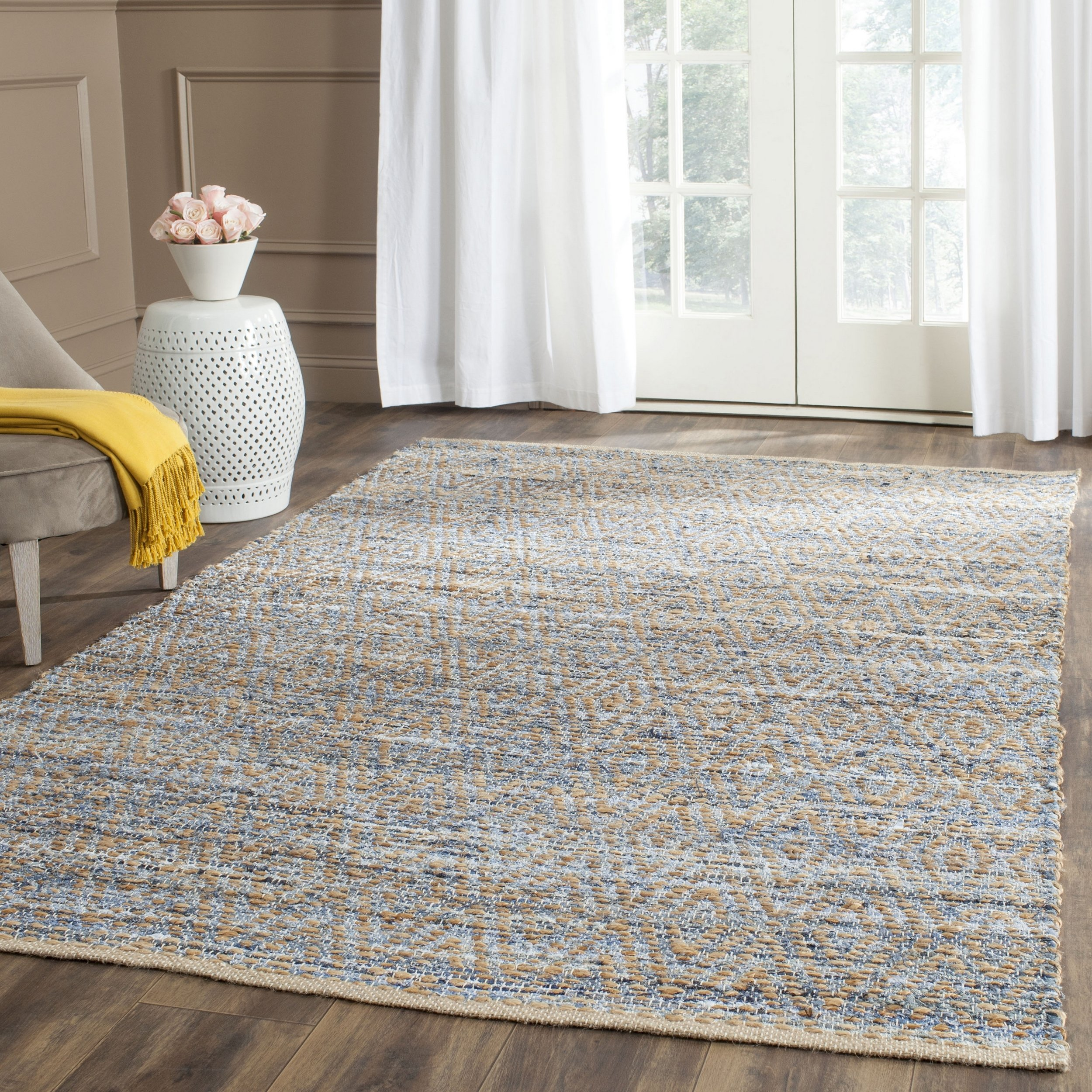 Safavieh Cape Cod Collection CAP350A Hand Woven Flatweave Chevron Natural and Blue Jute Square Area Rug (8' Square) by Safavieh
