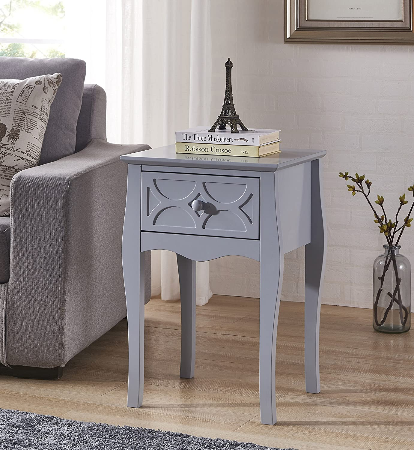 Grey Finish Checker Front Design Nightstand Side End Table with Drawer None NT-20226