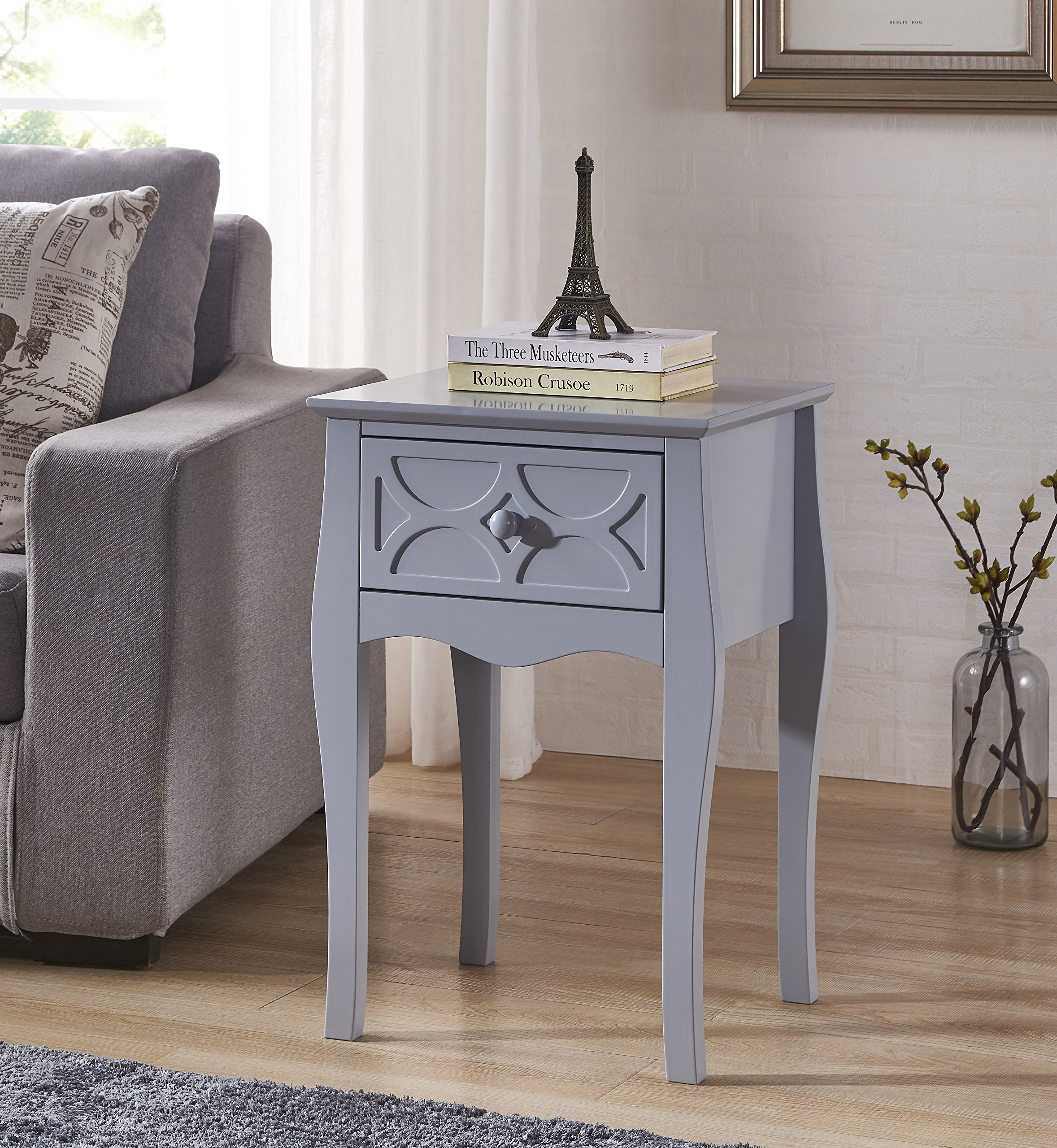 Grey Finish Checker Front Design Nightstand Side End Table with Drawer - Color: Grey Material: MDF/Hardwood Features one drawer for storage with checker pattern design on the front - living-room-furniture, living-room, end-tables - A1GKG0YvQTL -