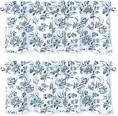DriftAway Claire Watercolor Floral Leaves Room Darkening Window Curtain Valance Rod Pocket 52 Inch by 18 Inch Plus 2 Inch Header Navy Gray 2 Pack