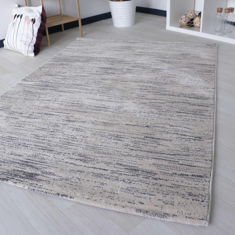 Mynes Home Designer Teppich Kurzflor für Wohnzimmer in Grau Liniert Grafisch Designer für Jugendzimmer Wohnzimmer   Schlafzimmer in versch. Größen (200 x 290 cm)