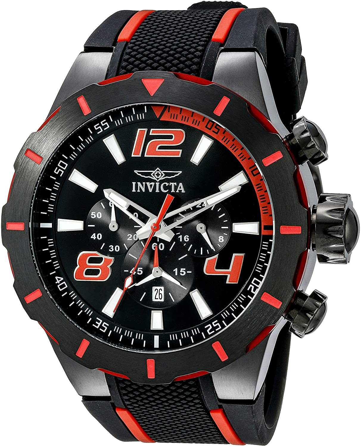 Invicta Men s 20109 S1 Rally Stainless Steel Black and Red Watch