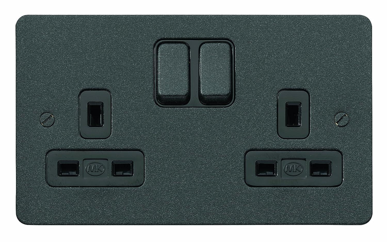 Mk Edge K14347lbkb Double Switch Socket With Dual Earth Pole Australian 3 Pin Socketoutlet Construction Lustrous Black Diy Tools