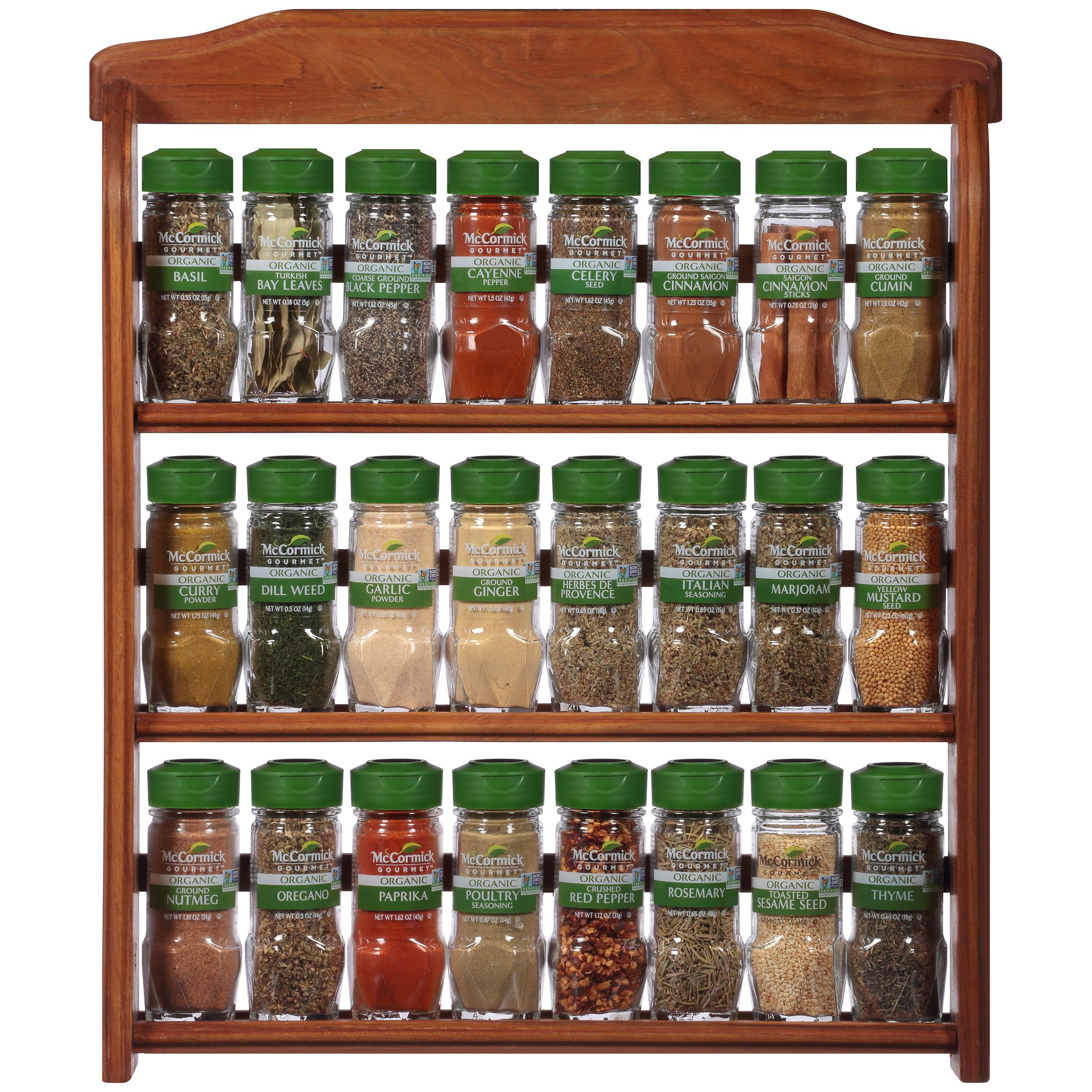 McCormick Gourmet  Three Tier Wood 24 Piece Organic Spice Rack (Spices Included, 3 Spice Rack Shelves, 24 Herbs & Spices), 27.6 oz by McCormick Gourmet