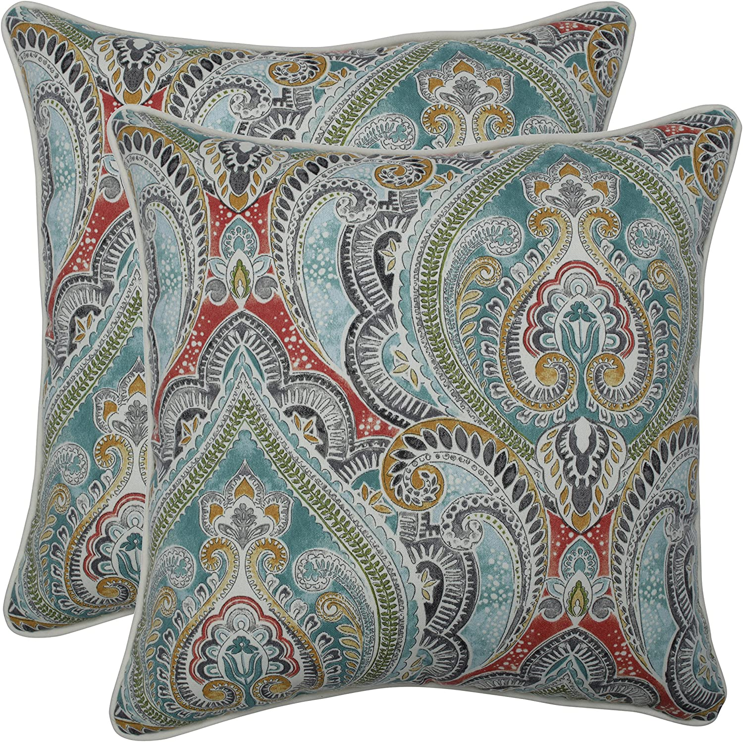 Pillow Perfect Outdoor Indoor Pretty Witty Reef 18.5-inch Throw Pillow Set of 2 , Blue