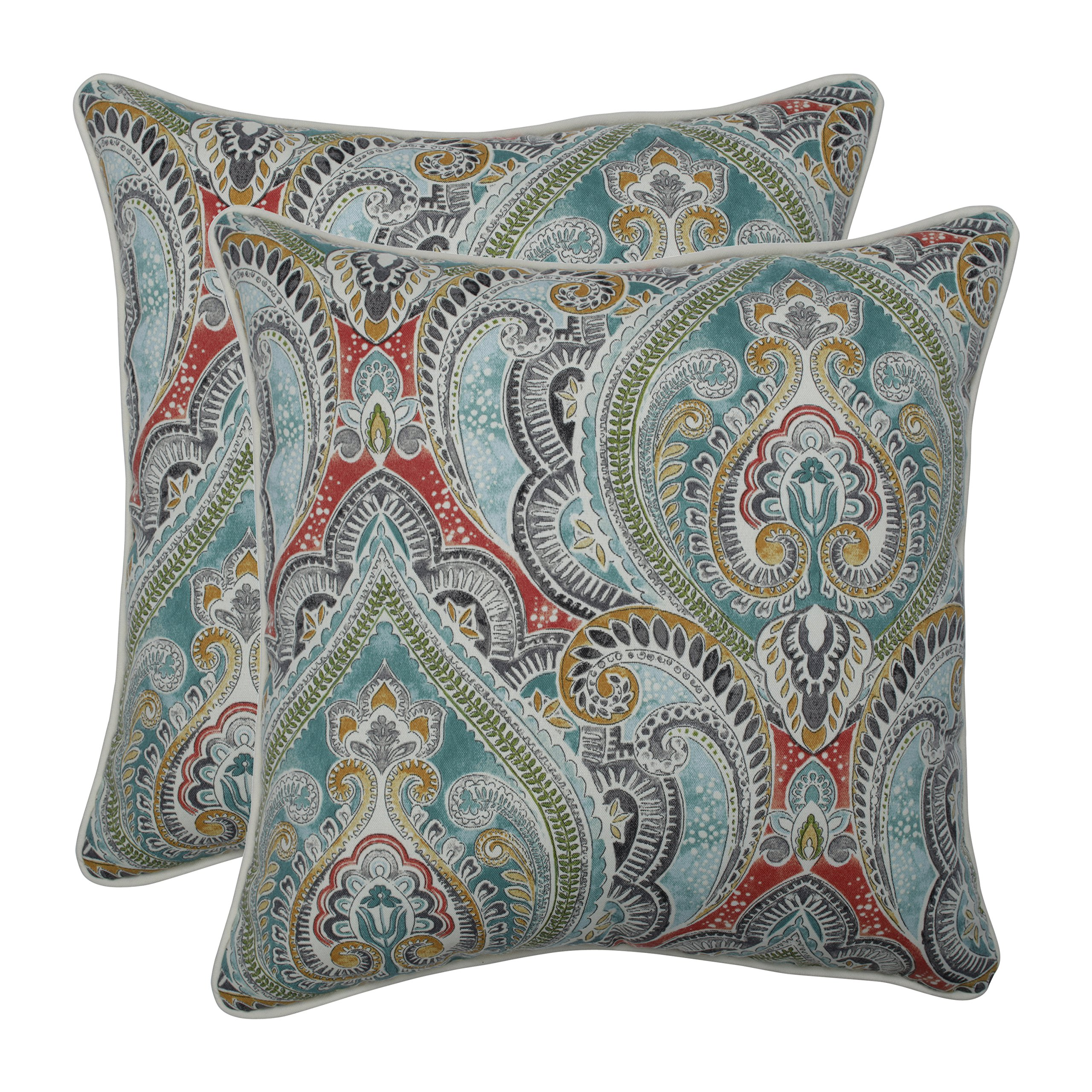 Pillow Perfect Outdoor | Indoor Pretty Witty Reef 18.5-inch Throw Pillow (Set of 2), Blue