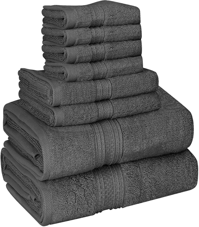 Utopia Towels 8 Piece Towel Set, 700 GSM, 2 Bath Towels, 2 Hand Towels and 4 Washcloths, Dark Grey by Utopia Towels
