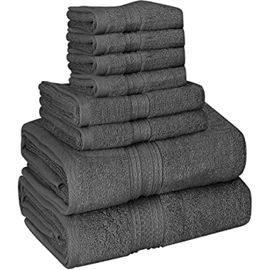 Utopia Towels 8 Piece Towel Set, 700 GSM, 2 Bath Towels, 2 Hand Towels and 4 Washcloths, Dark Grey