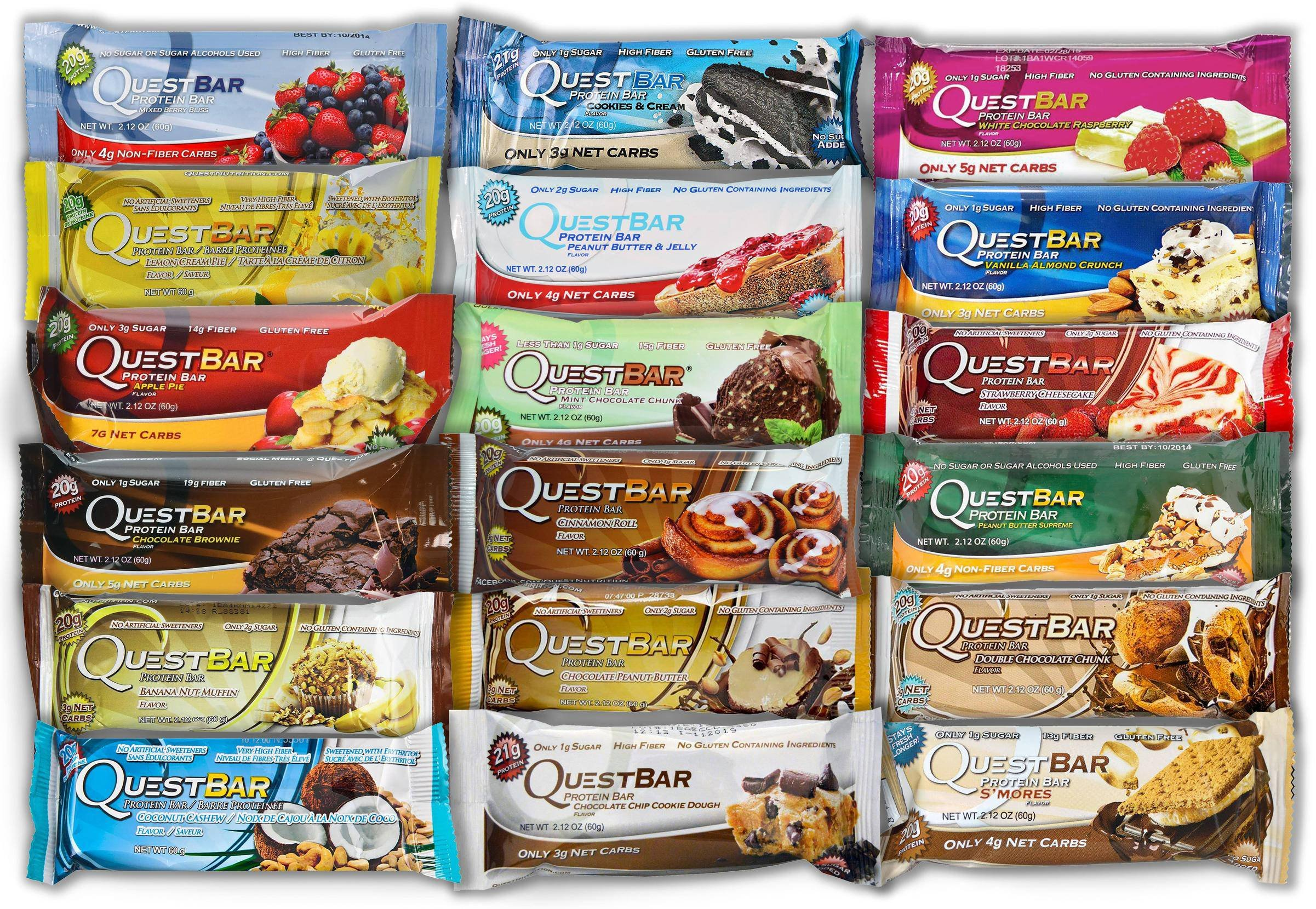 Quest Nutrition Bar Variety Bundle PbjWTc, 18 Bar Variety Pack