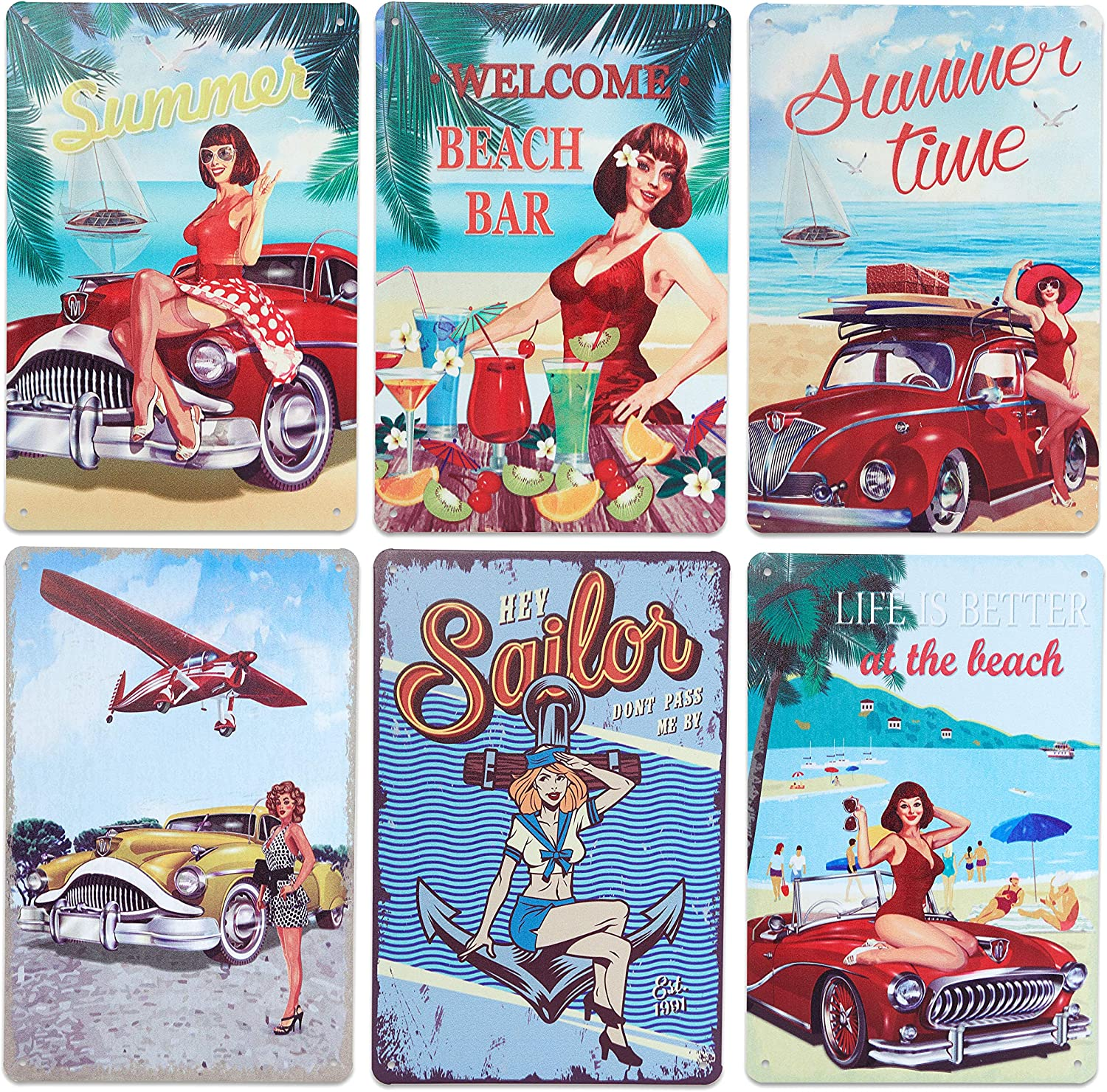 Okuna Outpost Vintage Metal Signs, Pinup Wall Decor (8 x 11.8 Inches, 6 Pack)