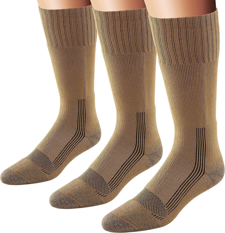 Fox River Men's Wick Dry Maximum Mid Calf Military Sock, 3 Pack (Coyote Brown, Medium)