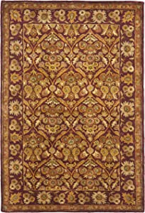 Safavieh Antiquities Collection AT51A Handmade Traditional Oriental Wine and Gold Wool Area Rug (3' x 5')