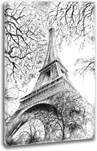 INTALENCE ART Eiffel Tower Bedroom Wall Decor 36x48in Black and White Paris Wall Art Premium Print on Canvas Modern Home and Office Decoration