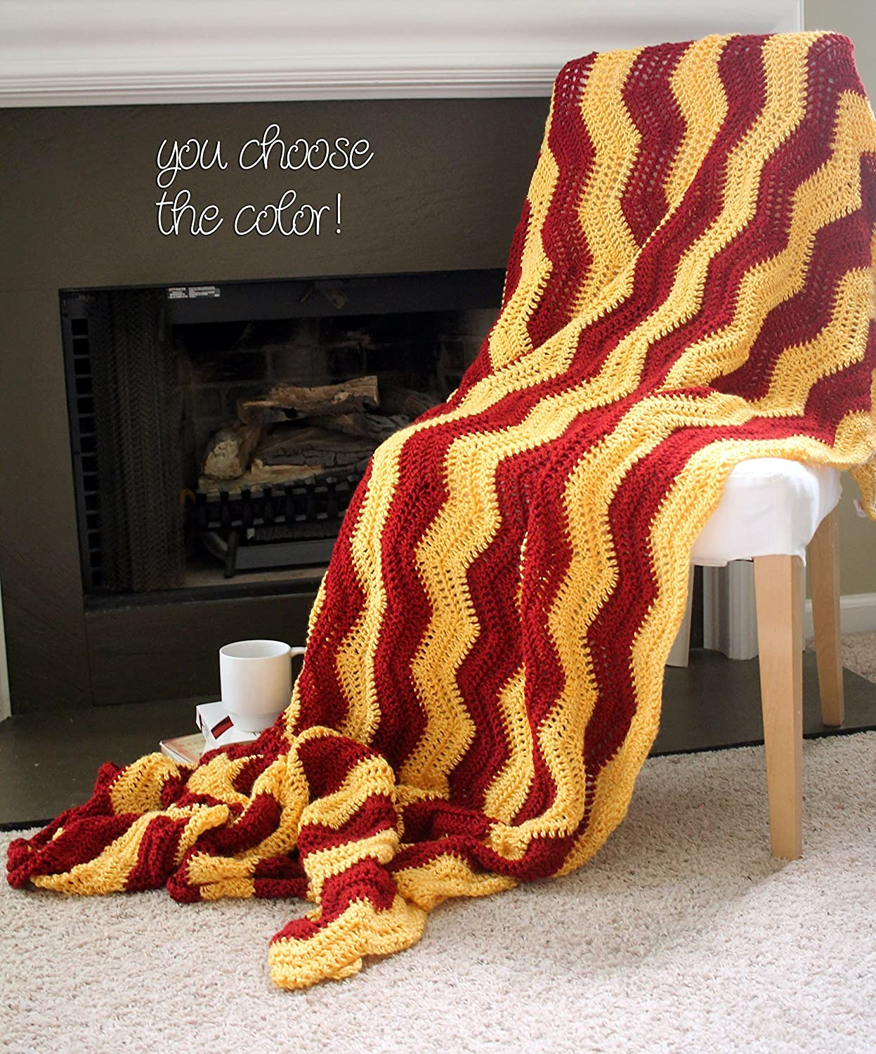 Image of Chevron Afghan Throw Blanket Crochet - Large Vertical Sunshine Yellow and Dark Red Striped Ripple Zig Zag - Made To Order Home and Kitchen