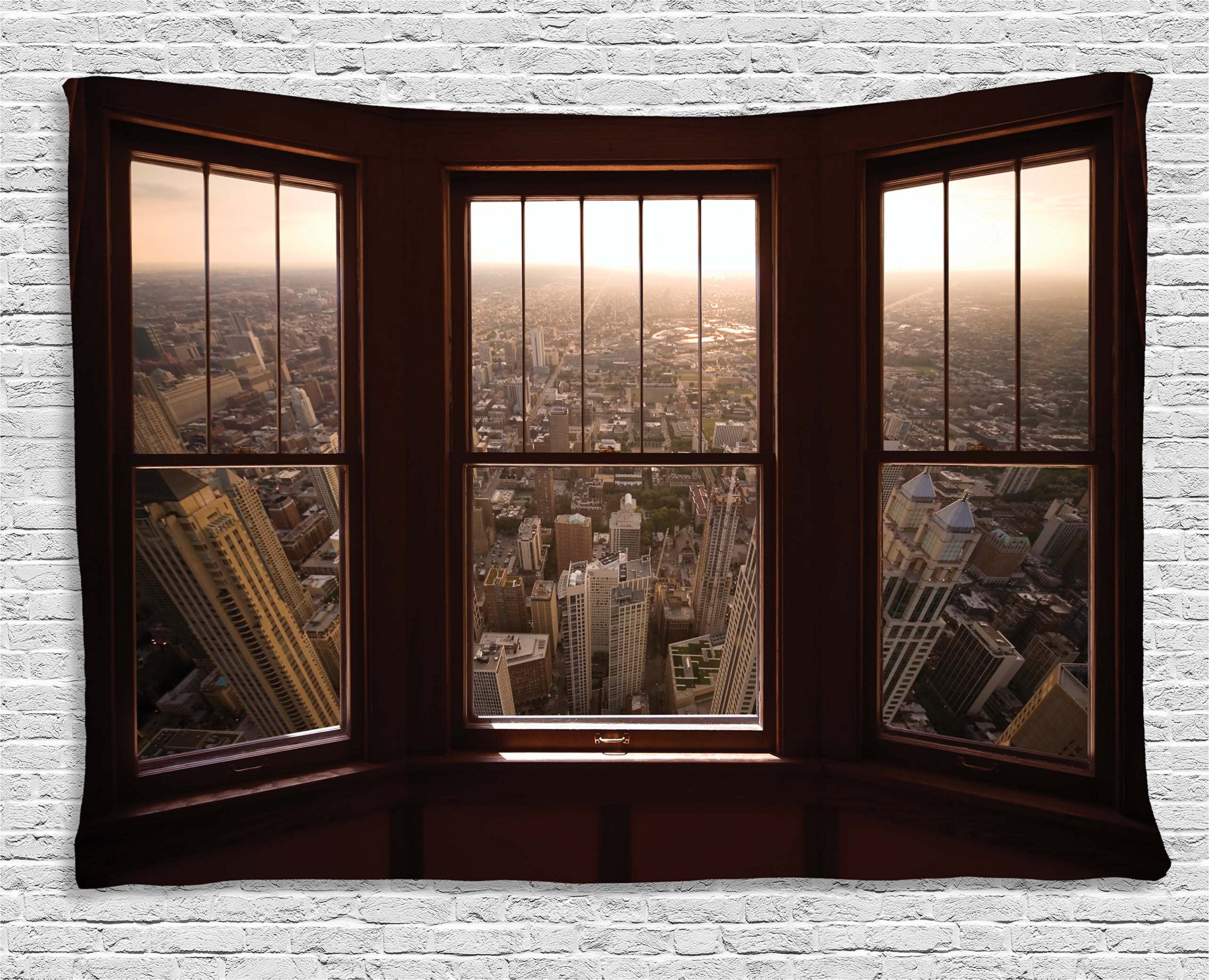 Ambesonne Aerial Decor Tapestry by, Urban View from the Window View City Dusk Building North American Town Scene, Wall Hanging for Bedroom Living Room Dorm, 60WX40L Inches, Brown Taupe