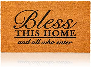 Bless This Home Natural Coir Nonslip Welcome Door Mat (17 x 30 in)