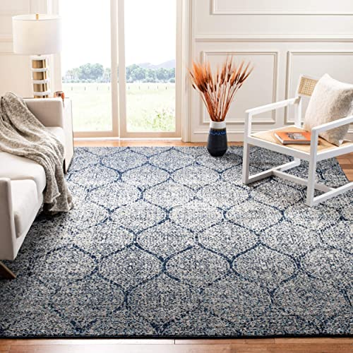 Safavieh Madison Collection MAD604G Navy and Silver Distressed Ogee Area Rug 10 x 14