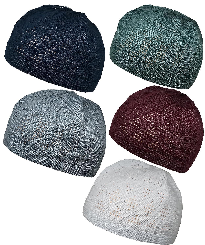 Set 5 Colors Muslim Skull Cap Beanie Islam Kufi Hat Prayer Crochet Takke at  Amazon Men s Clothing store  ff9cff121d2