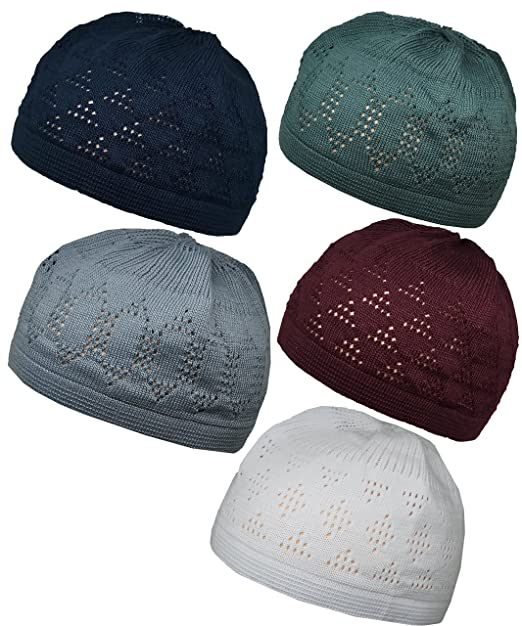 eaedb9923ee Al-Ameen Set 5 Colors Muslim Skull Cap Beanie Islam Kufi Hat Prayer Crochet  Takke  Amazon.ca  Clothing   Accessories