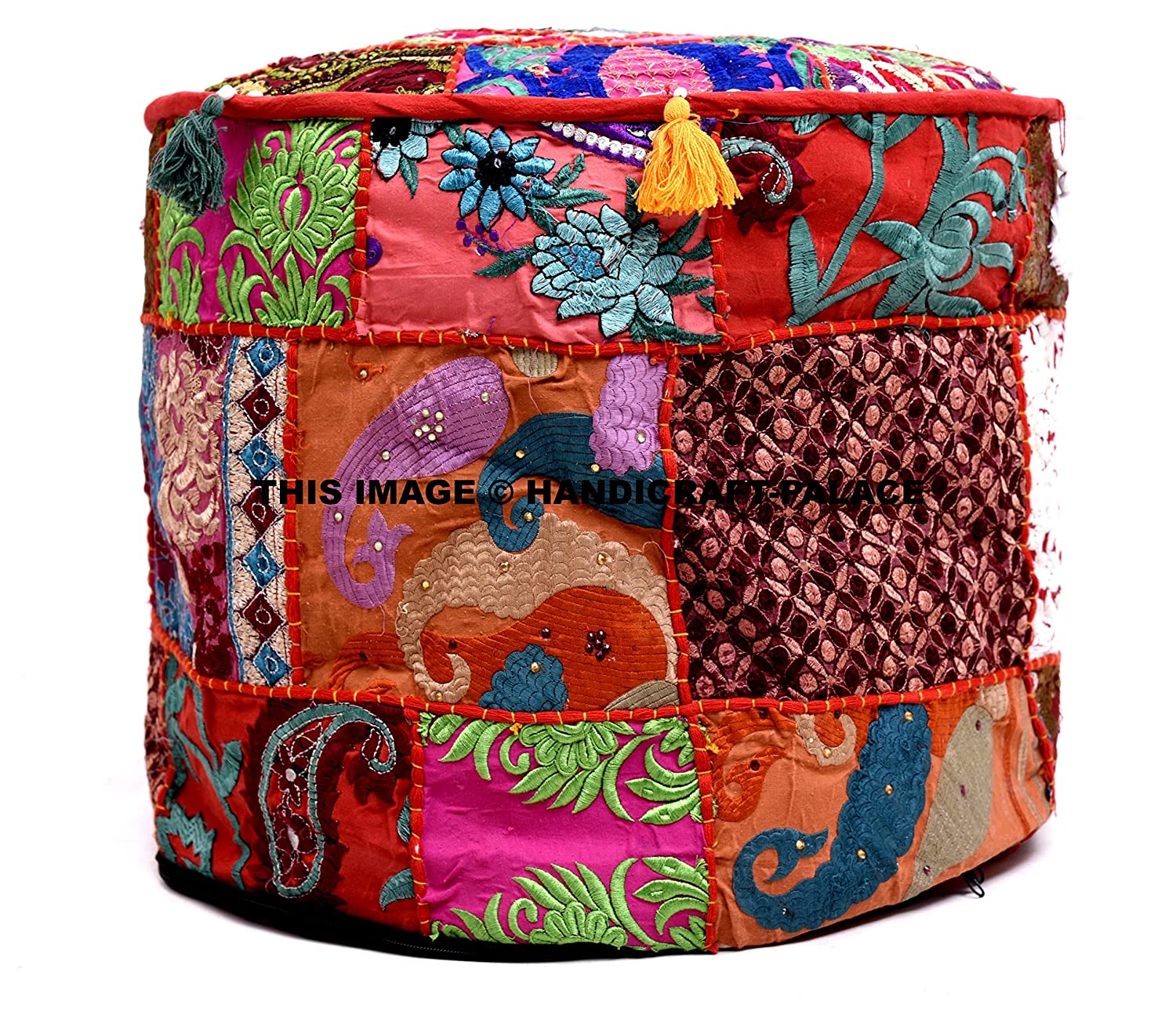 HANDICRAFT-PALACE Indian Pouf Stool Vintage Patchwork Embellished with Patchwork Living Room Ottoman Cover,100/% Cotton Art Decor Ottomans Comfortable Patchwork Floor Cushion