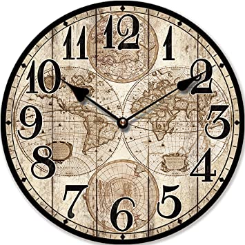 RELOJ DE PARED MAPAMUNDI ANTIGUO 30CM NOSTALGIA - Tinas Collection: Amazon.es: Hogar