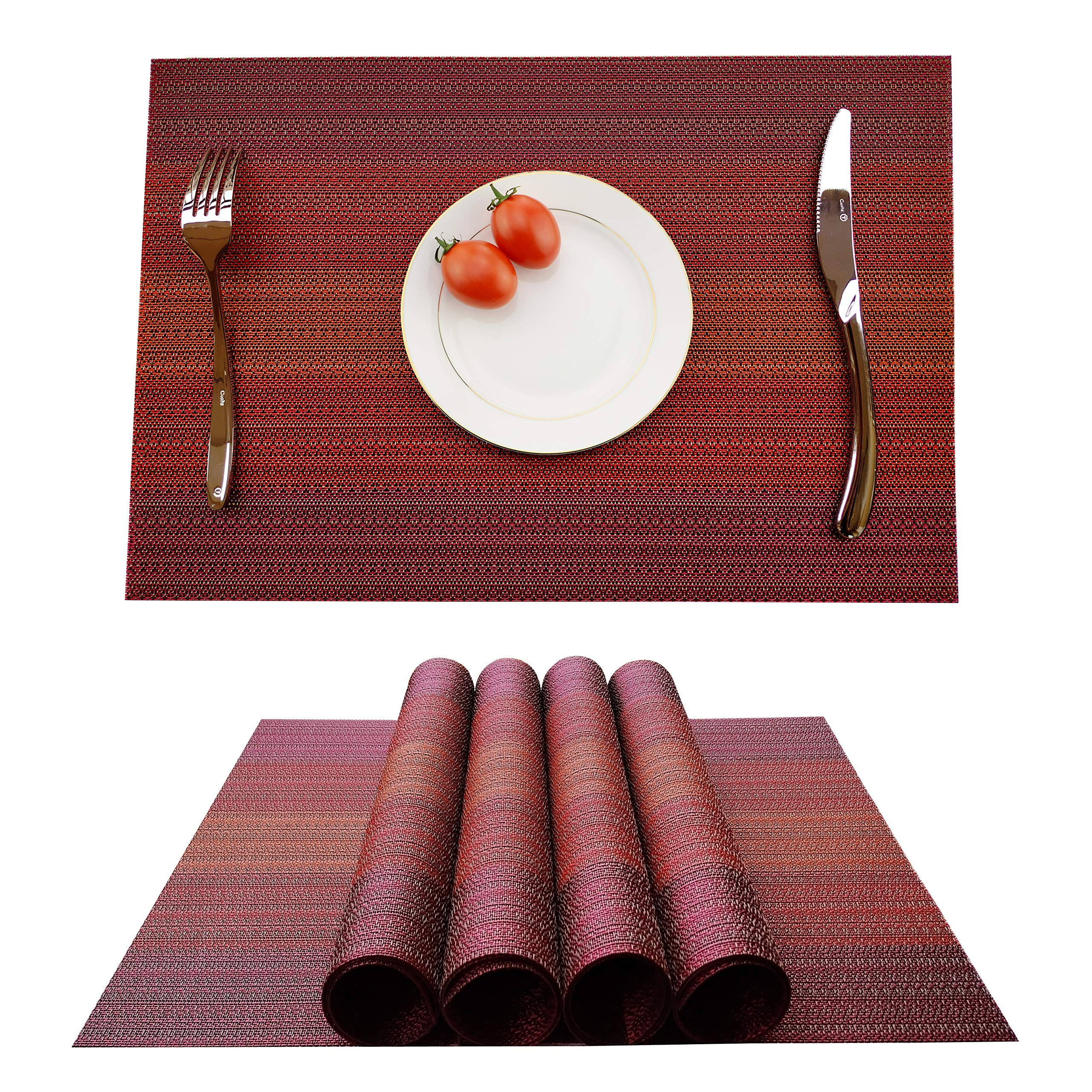 KOKAKO Placemats Heat-Resistant Dining Table Placemats Stain Resistant Anti-Skid Washable PVC Kitchen Table Mats Woven Vinyl Placemats,Set of 4 (Dark Red)