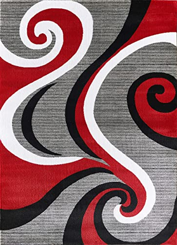 Glory Rugs Modern Area Rug Swirls Carpet Bedroom Living Room Contemporary Dining Accent Sevilla Collection 4817 8×10