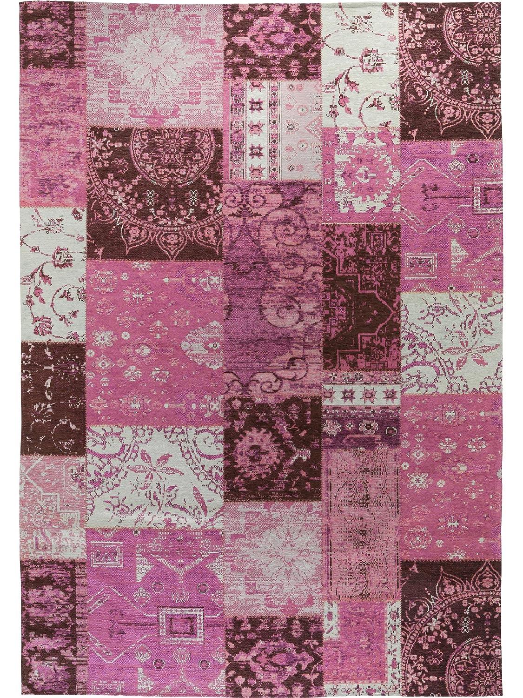 Benuta Flachgewebe Teppich Frencie Patchwork Lila 80x165 cm Pflegeleichter Teppich für Flur und Andere Wohnräume
