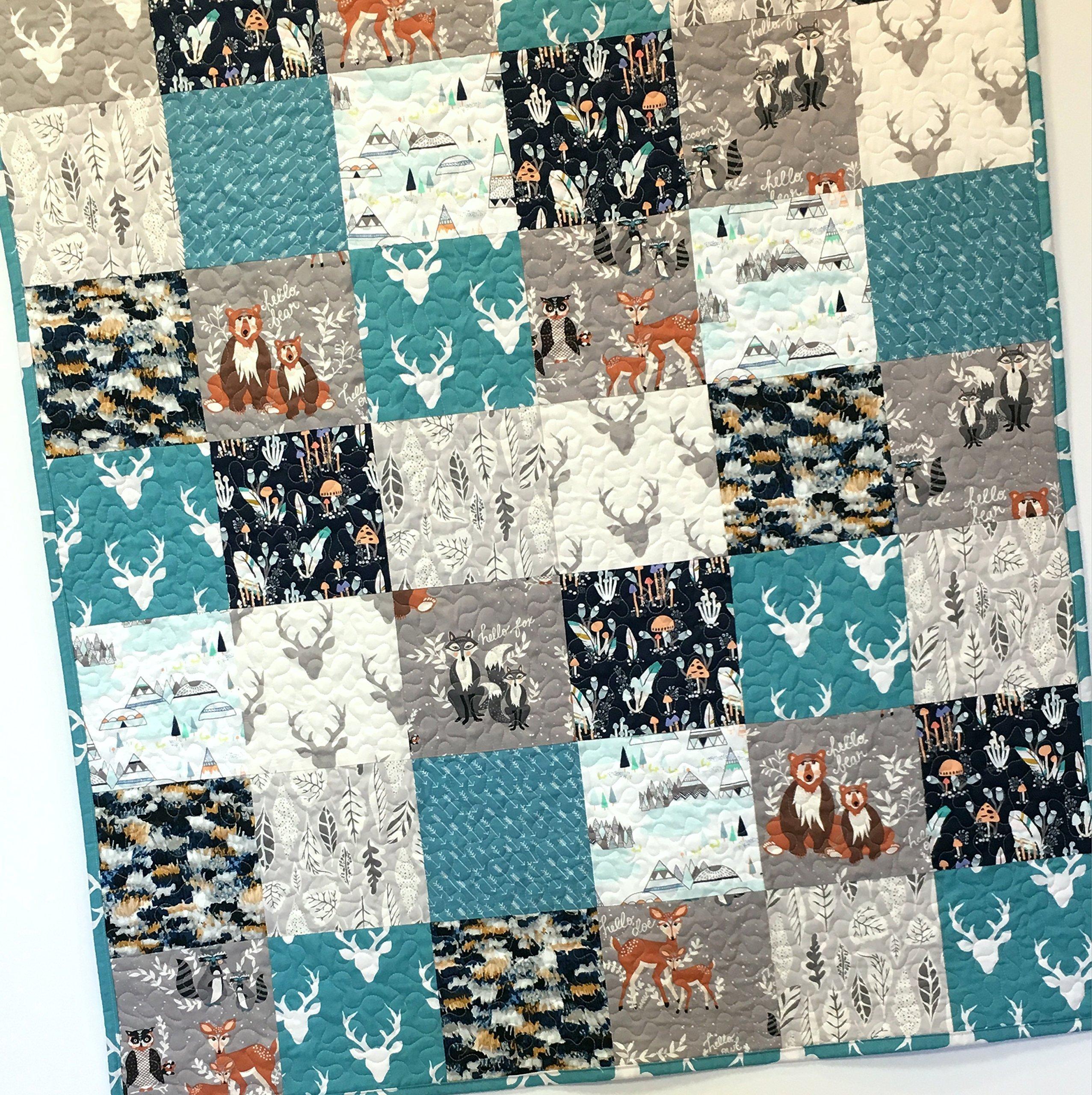 Baby Boy Quilt Woodland Patchwork Handmade Deer Bear