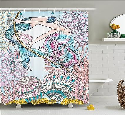 Merveilleux Ambesonne Mermaid Shower Curtain By, Cartoon Mermaid In Sea Sirens Of Greek  Myth Female Human