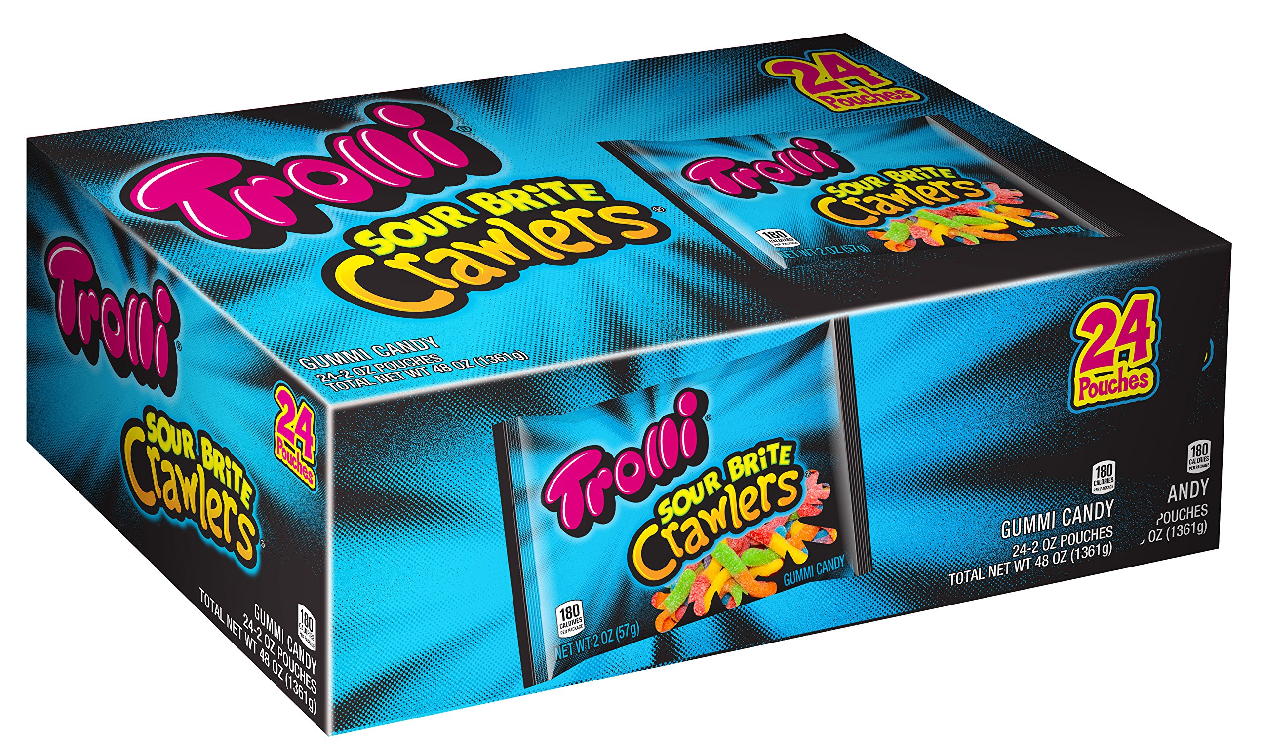 Trolli Sour Brite Crawlers Gummi Worm, 24 Count
