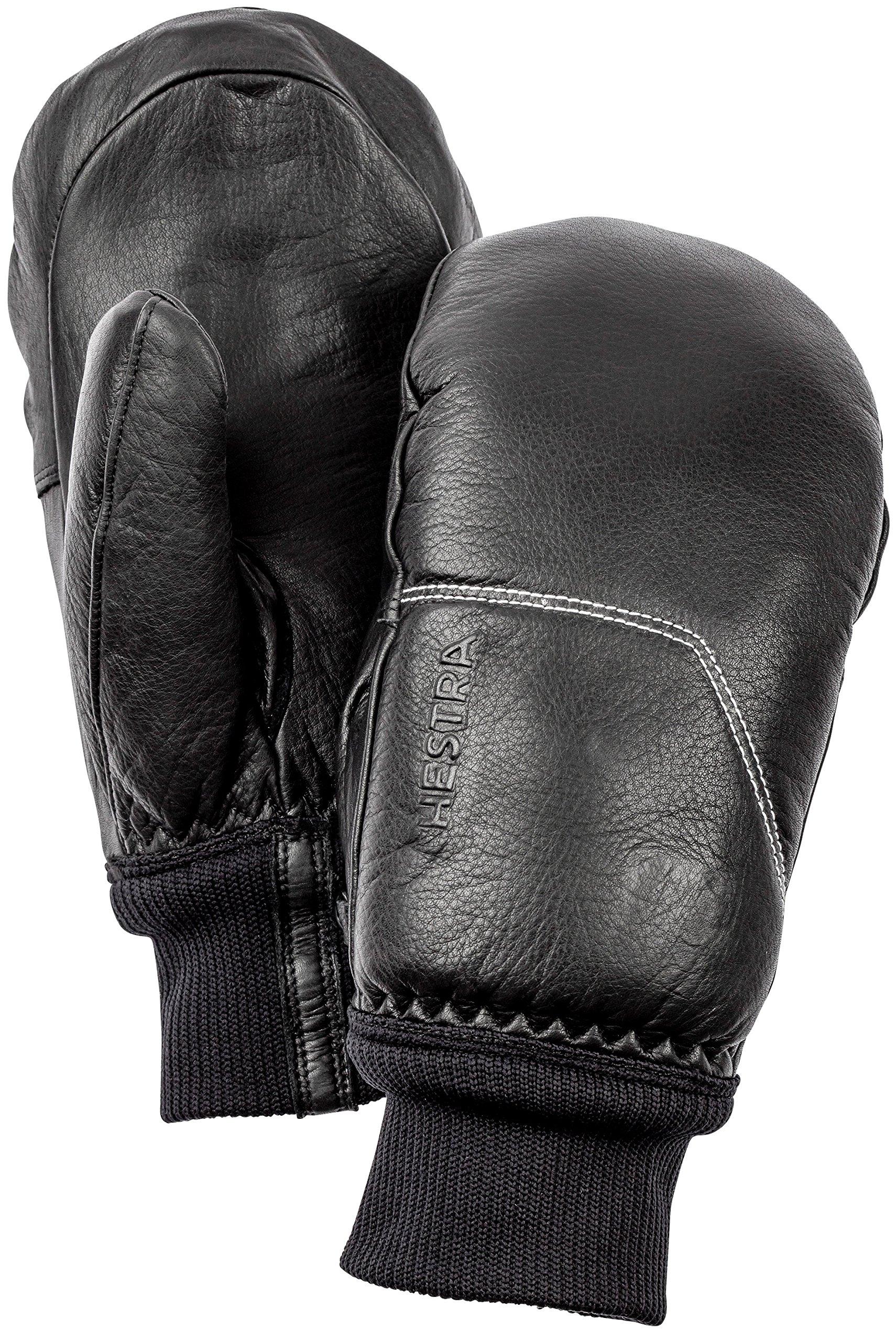 Hestra Ski Gloves: Omni Cold Weater Winter Leather Mittens, Black/Black, 7
