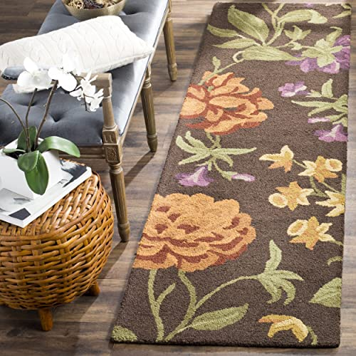 Safavieh Blossom Collection BLM788A Handmade Brown and Multi Premium Wool Runner 2 3 x 8
