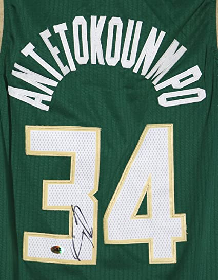 Giannis Antetokounmpo Milwaukee Bucks Signed Autographed Green  34 Jersey  Size L CAS COA 615586c58