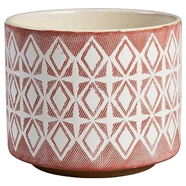 Rivet Modern Geometric Ceramic Planter, 6.5 H, Rose