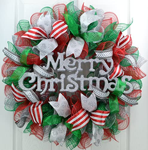 Merry Christmas Wreath Red Emerald Green Silver Mesh Monogram Initial Front Door Wreath C4