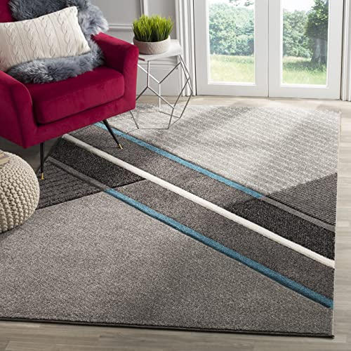 Safavieh Hollywood Collection HLW711D Grey and Teal Mid-Century Modern Abstract Area Rug 8 x 10