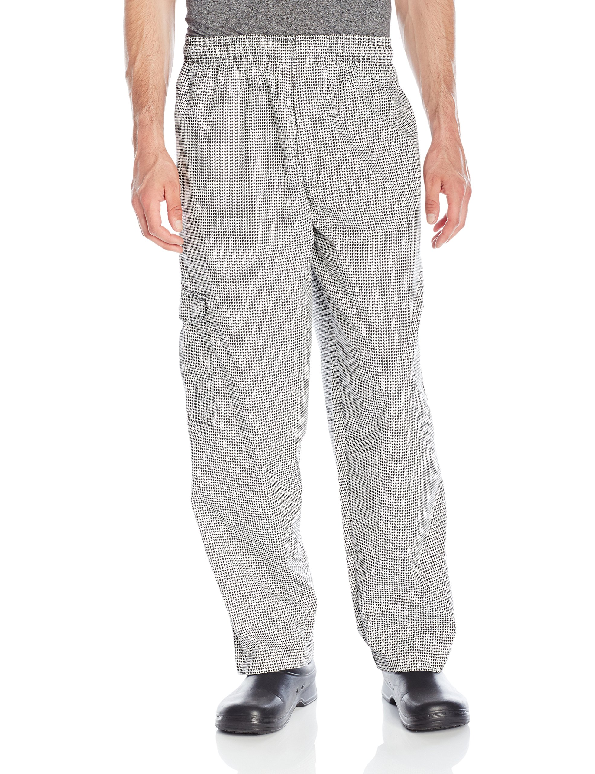 Chef Code Men's Black and White Check Cargo Pant, Check Black/White, 2X-Large