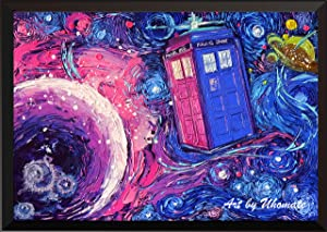 Uhomate Tardis Dr Who Doctor Telephone Booth Wall Decor Vincent Van Gogh Starry Night Posters Home Canvas Wall Art Print Anniversary Gifts Baby Gift Nursery Decor Living Room Wall Decor A099 (8X10)