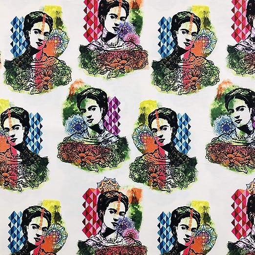LAS TELAS ... Tejido por Metros, Loneta Estampada 100% Algodón Estampado Frida Kahlo, Ancho de 2,80 Mtrs.1 Mtr.: Amazon.es: Hogar