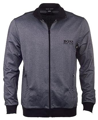 Hugo Boss Men s Pique Cotton Zip Tracksuit Jacket, Grey Black Small ... a339b8d1639a
