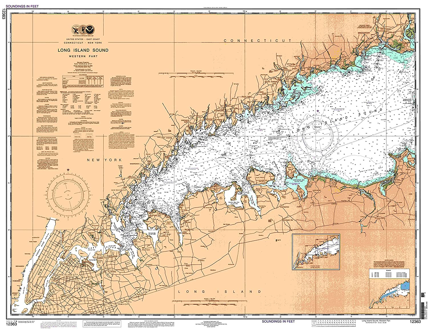 Long Island Sound Map Amazon.: East View Map Link NOAA Chart 12363 Long Island Sound