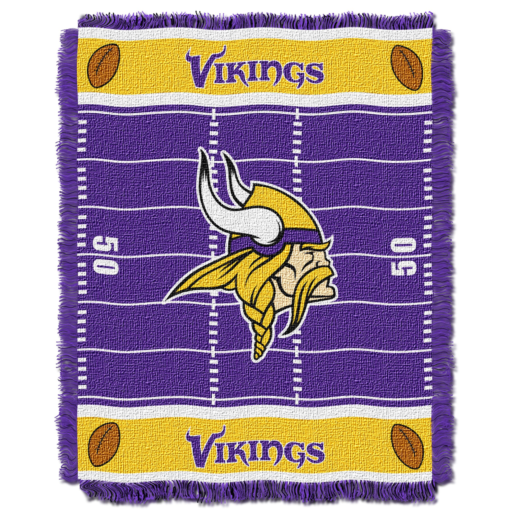 The Northwest Company Officially Licensed NFL Minnesota Vikings Field Bear Woven Jacquard Baby Throw Blanket, 36'' x 46'', Multi Color by The Northwest Company