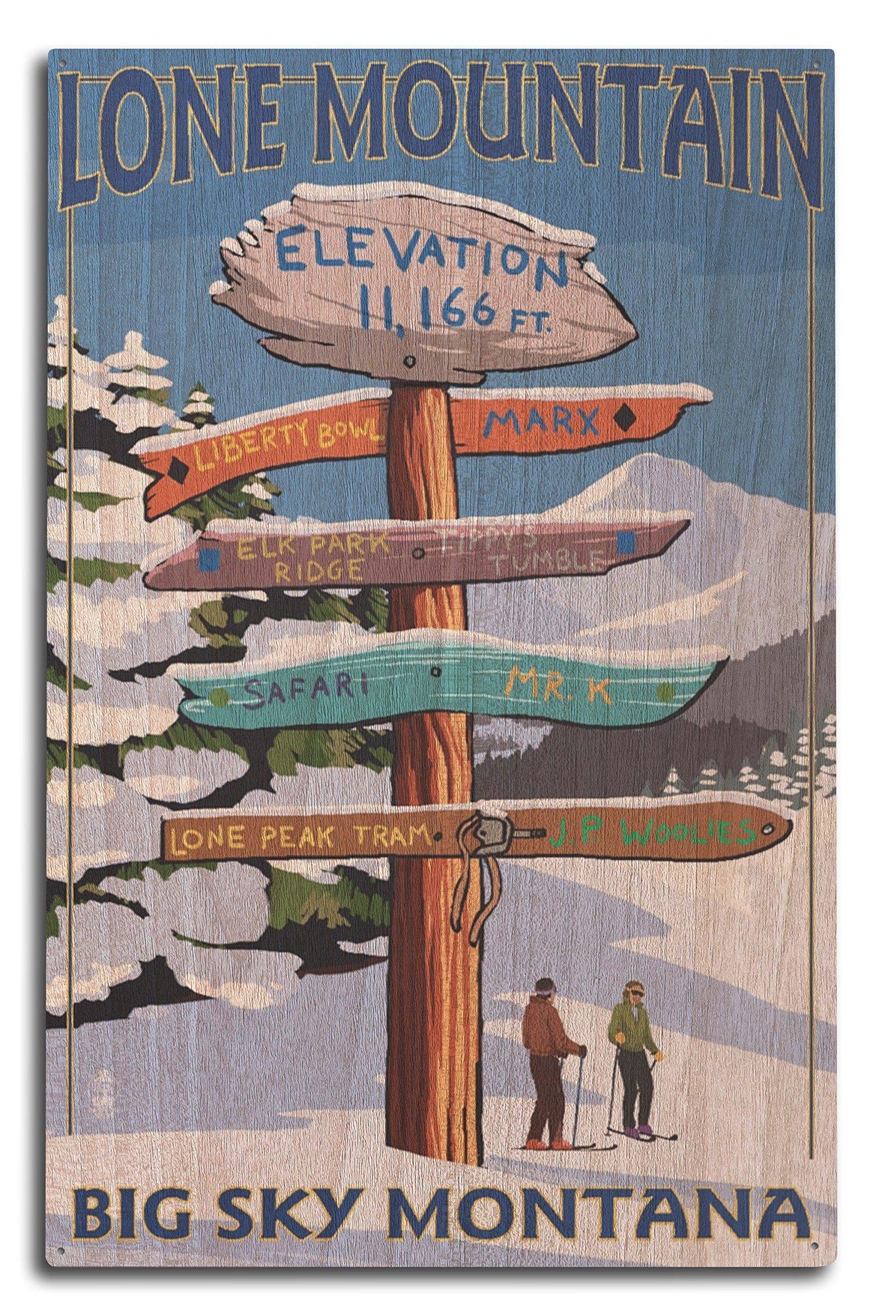 Lantern Press Big Sky, Montana - Lone Mountain - Ski Destinations Sign (10x15 Wood Wall Sign, Wall Decor Ready to Hang)