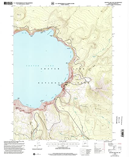 Crater Lake Topographic Map.Amazon Com Yellowmaps Crater Lake East Or Topo Map 1 24000 Scale