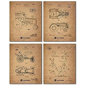 John Deere Patent Prints - Set of Four Vintage Tractor Plow Wall Art Decor Photos