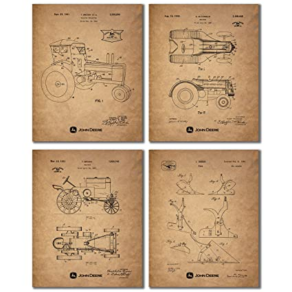 Amazon.com: John Deere Patent Prints - Set of Four Vintage Tractor on dr pepper kitchen decor, disney kitchen decor, campbell's soup kitchen decor,